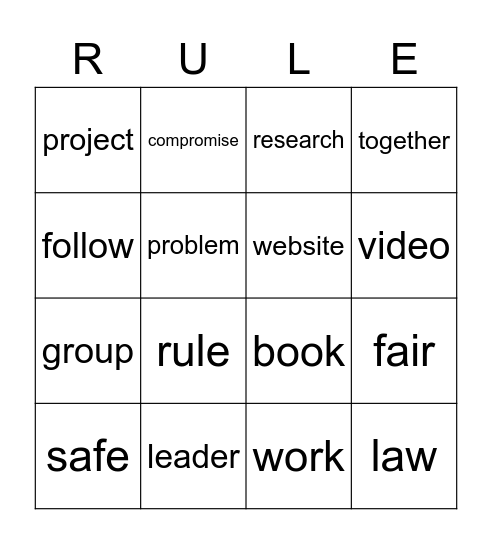 Rules and Laws Bingo Card