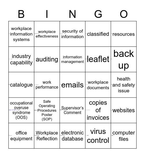 Workplace Bingo Card
