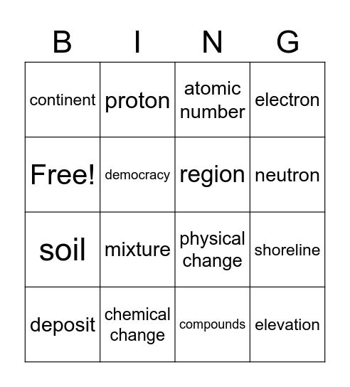 Science and Social Studies Vocabulary Bingo Card