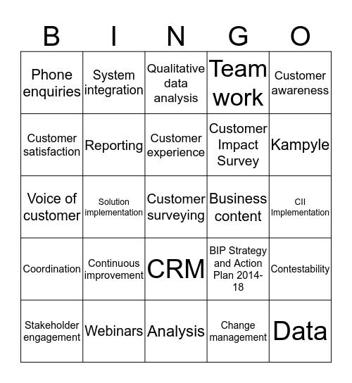 Customer Experience Bingo Card