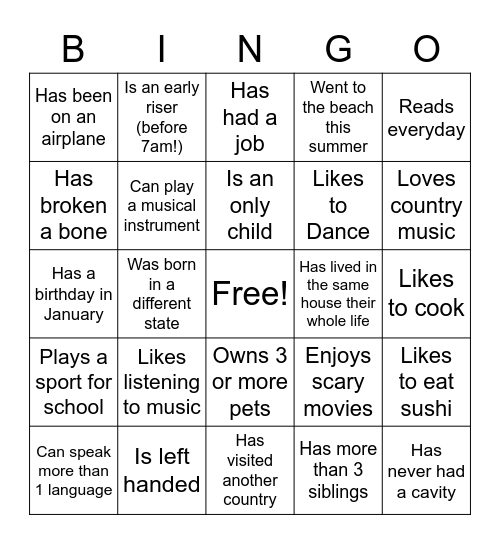 Getting to Know You Bingo Card