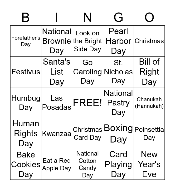 Holidays, Special and Wacky Days of December 2014 Bingo Card