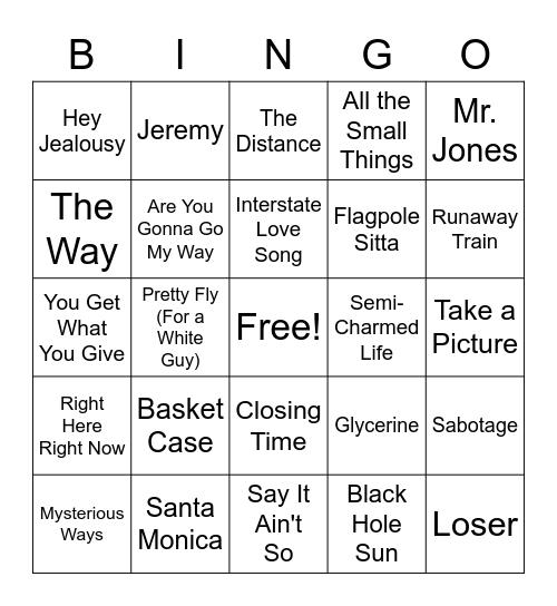 Grunge Bingo Card