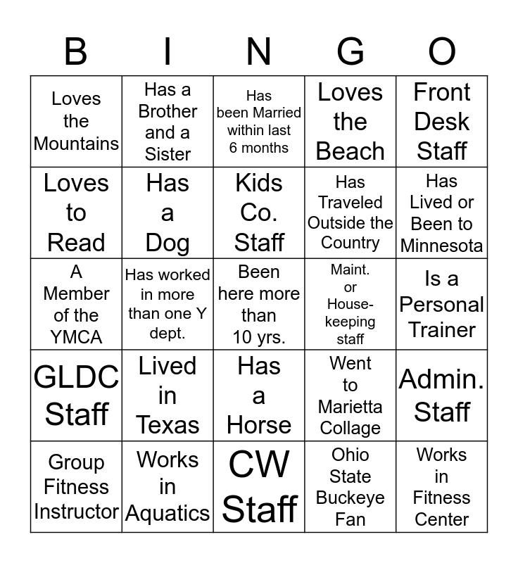 YMCA Get to Know Staff Bingo Card