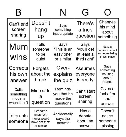 Quiz Bingo Card