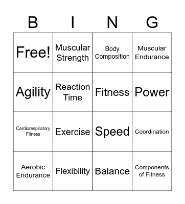 Components of Fitness Bingo Card