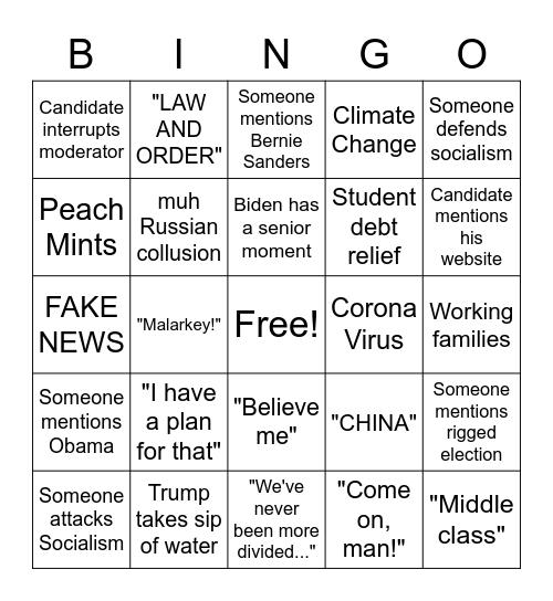 Trump vs Biden Round 1 Bingo Card