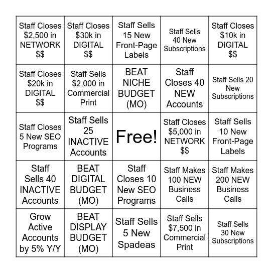 WA AD Bingo Card