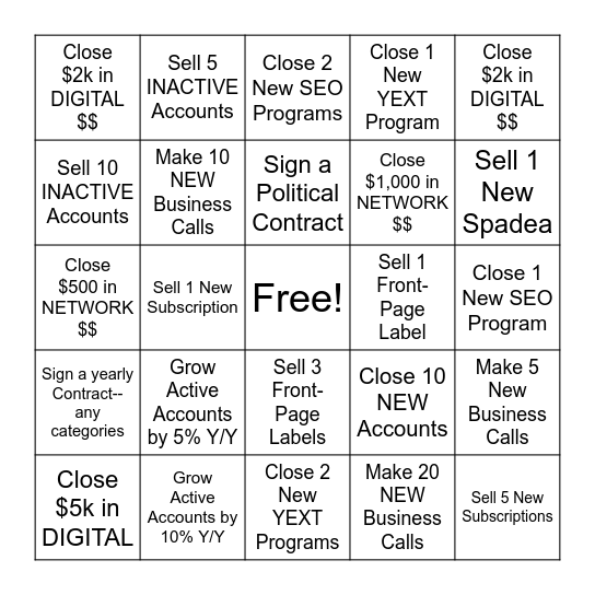 ID SE N Bingo Card