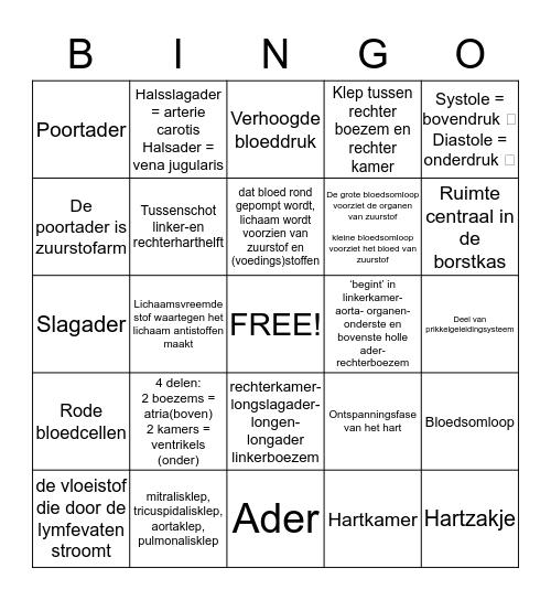 Bingo Hart Bingo Card