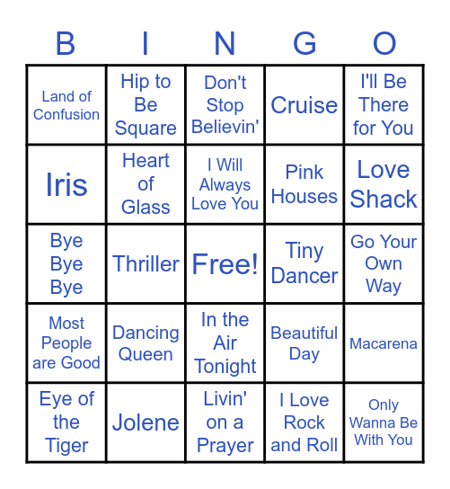 Music from the 1970s - Present Bingo Card