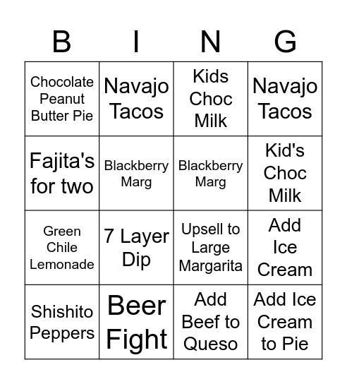 Green Chile Bingo Card