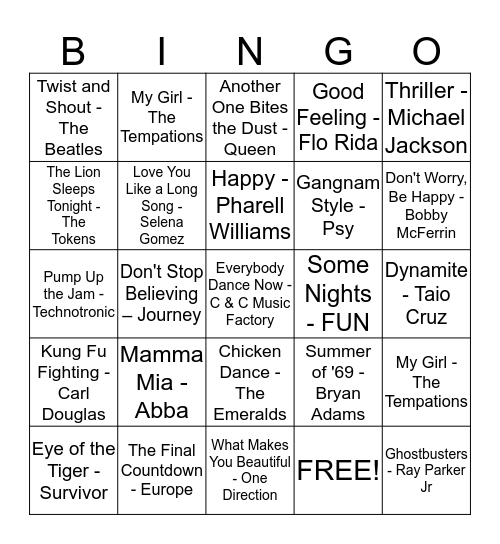 QE CLUBHOUSE MUSIC BINGO!!! Bingo Card