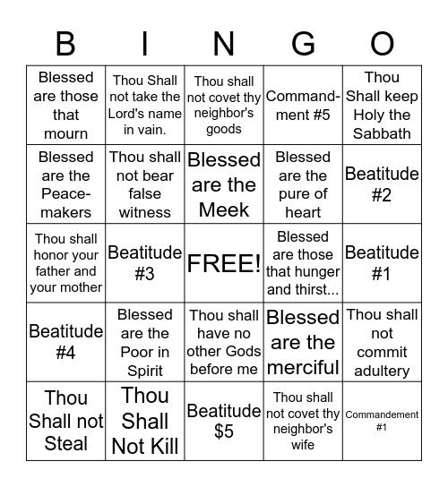 Commandment and Beatitude Bingo Card