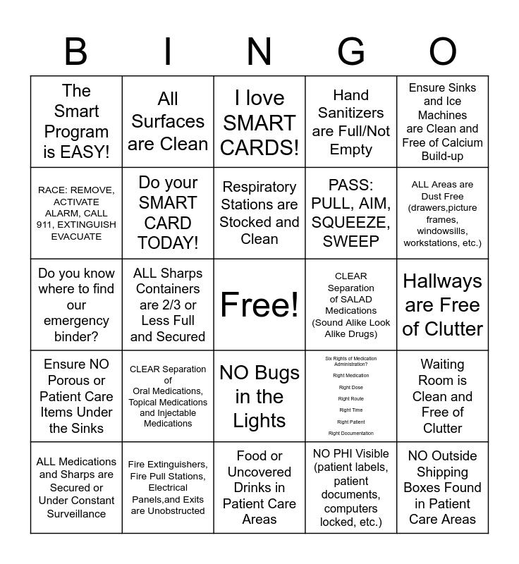 SMART CARD Bingo Card