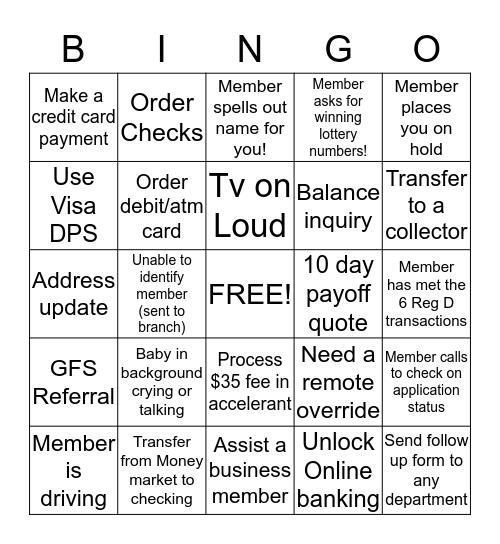 Solution Center Bingo Card
