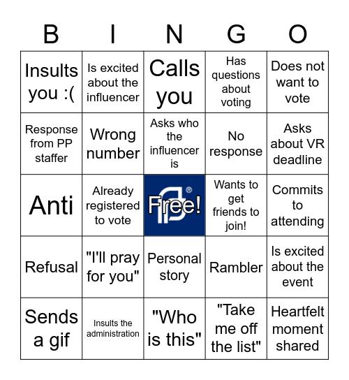 NVRD Hustle Party Bingo Card