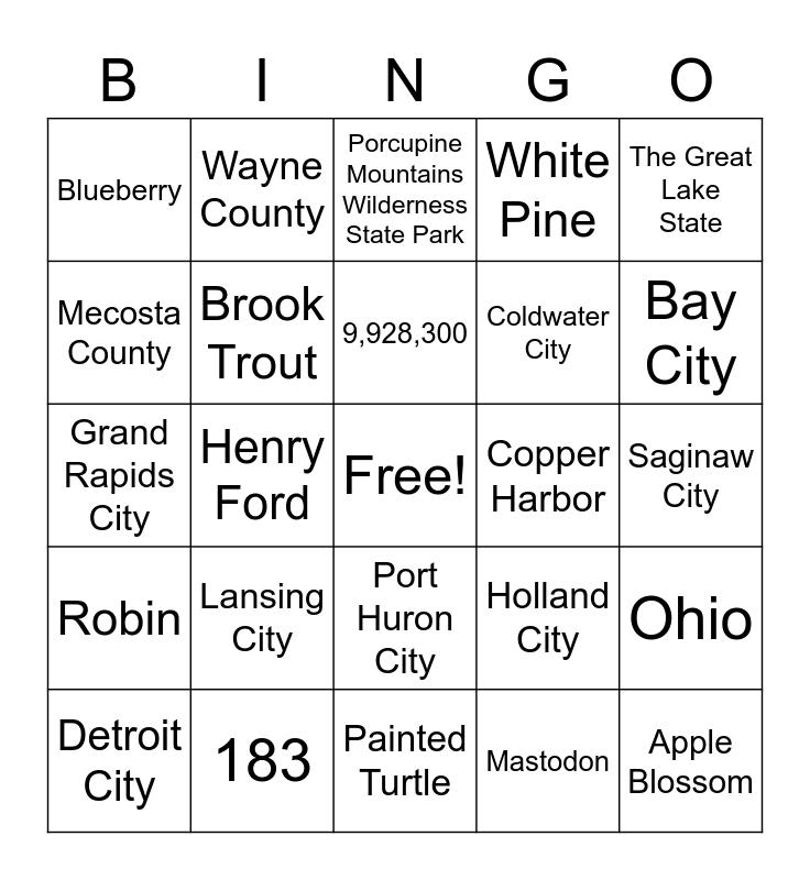 Michigan Facts Bingo Card