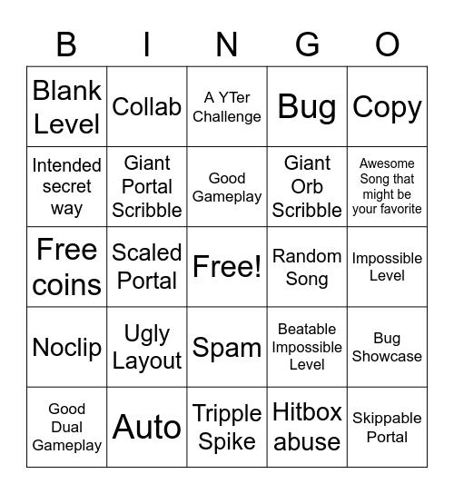 Recent Tab Bingo (Geometry Dash) Bingo Card