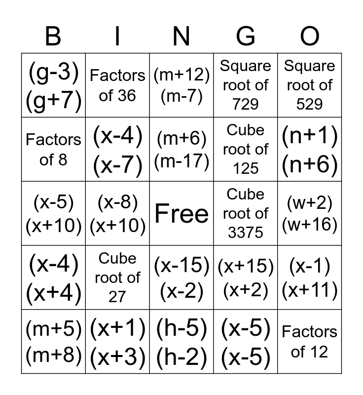 Factoring Bingo Card