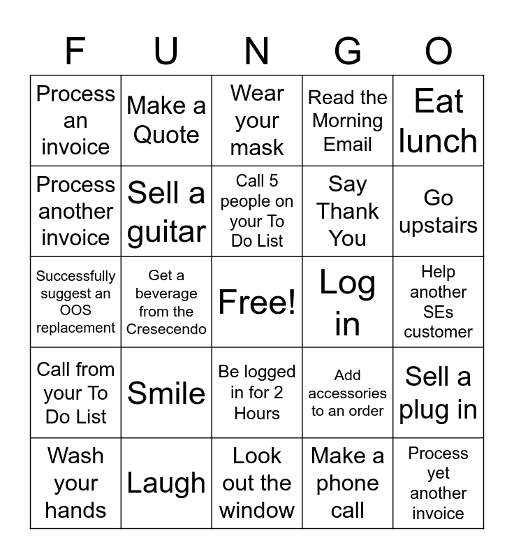 Fungo Bingo Card