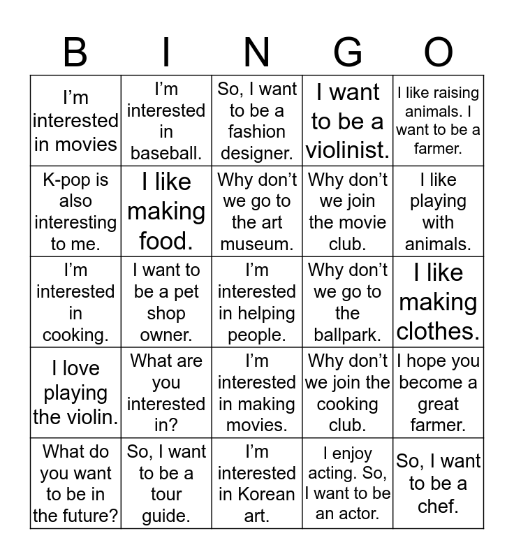 Unit 9: What Are You Interested in? Bingo Card