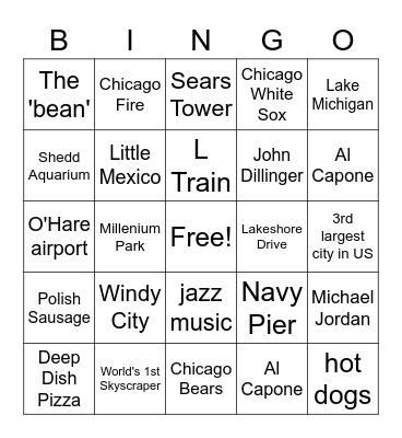 CHICAGO Bingo Card