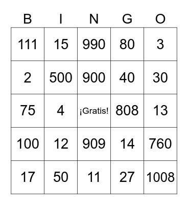 Números Bingo Card