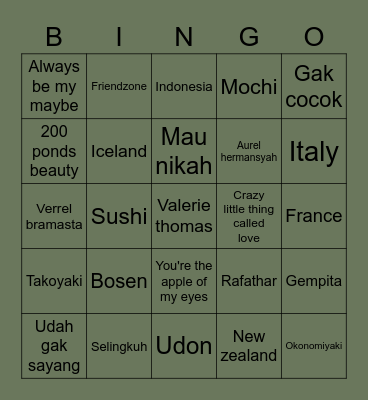 Taeng Bingo Card