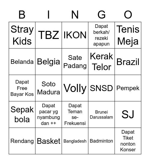 Bingo bersama Kaha. Bingo Card