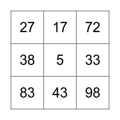 Bingo Numbers Bingo Card
