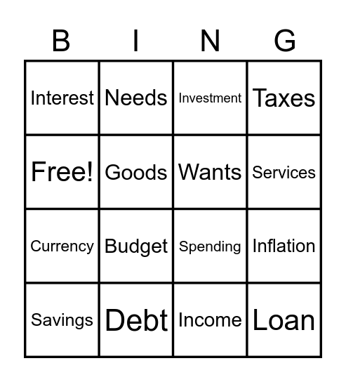 Currency and Budget Bingo Card
