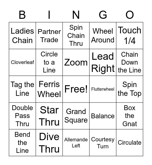 Square Dance Call Bingo Card