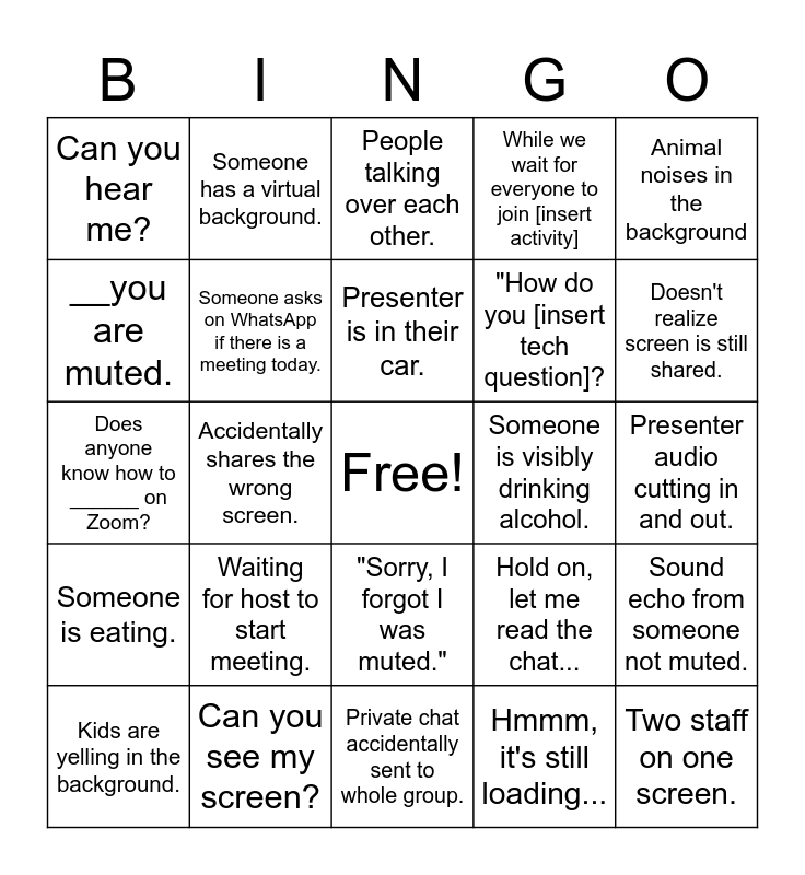 Staff Meeting Zoom Bingo Card