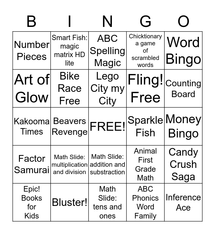 Apps with a purpose Bingo Card