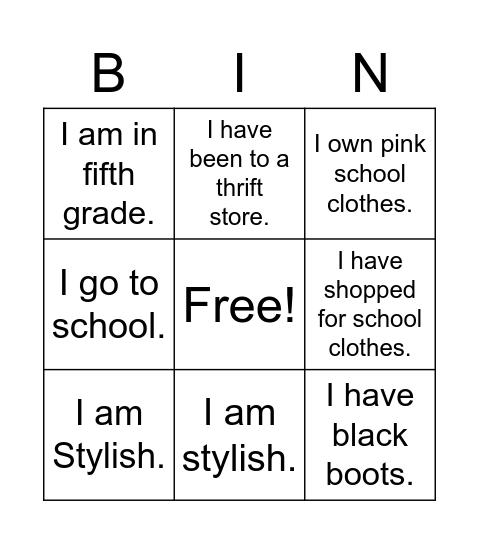 School Clothes Poem Bingo Card