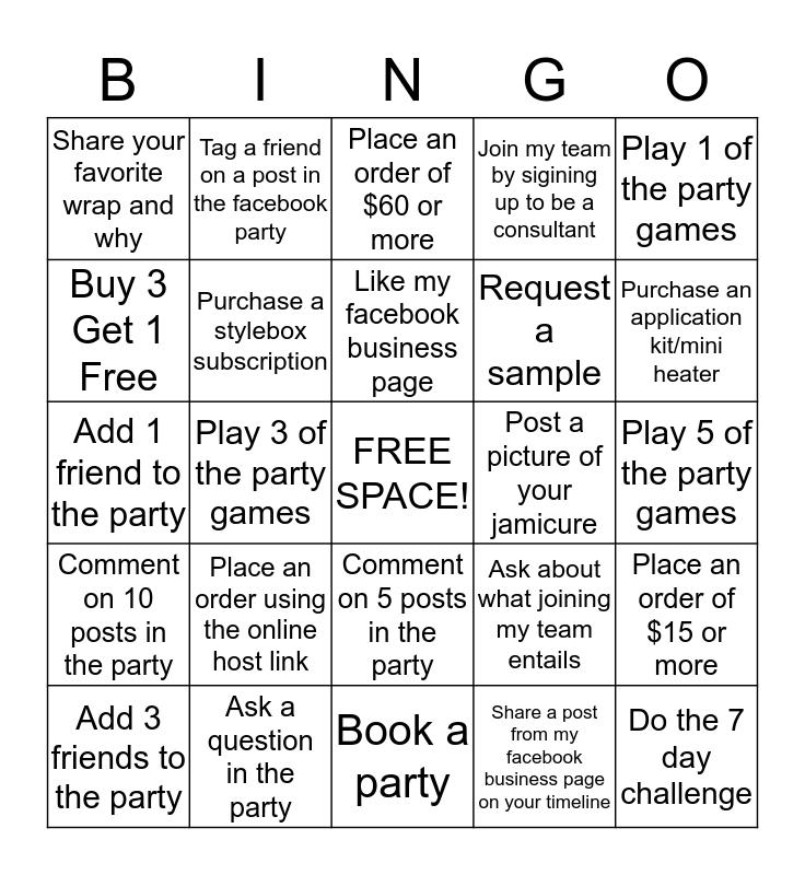 Jamberry Bingo! Bingo Card