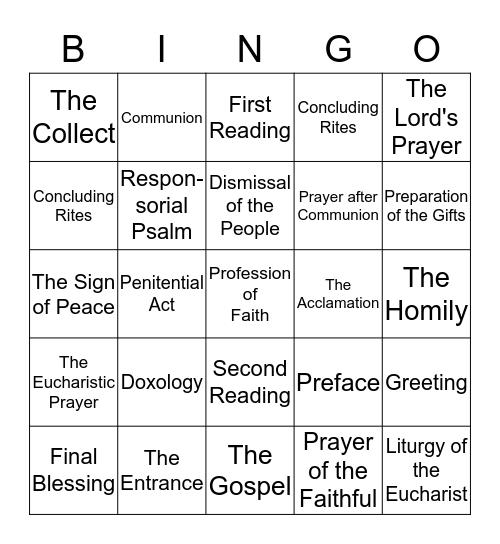 Mass Bingo Card