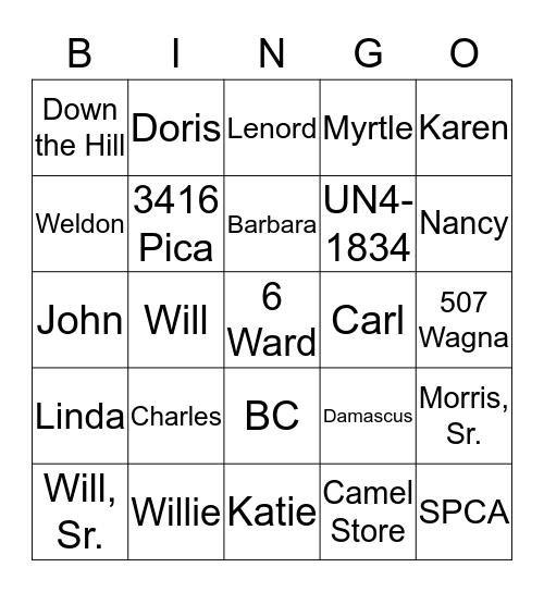 Smith Bingo Card