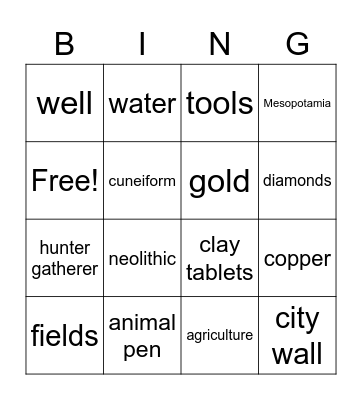 Early Humans Bingo Card