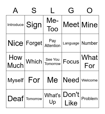 Introductions List 4 Bingo Card