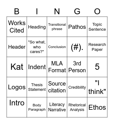Composition I Bingo Card