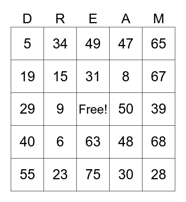 Sweet Dreams Bingo Card