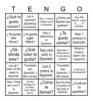 Lotería de Repaso: Español 2 Bingo Card