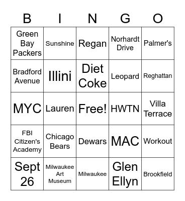 F&H Bingo Card