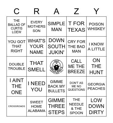 TRIBUTE TO LYNYRD SKYNYRD Bingo Card