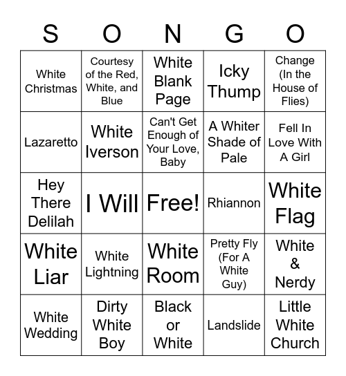 White Colors Bingo Card