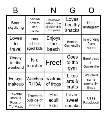 Ladies Night In Bingo Card
