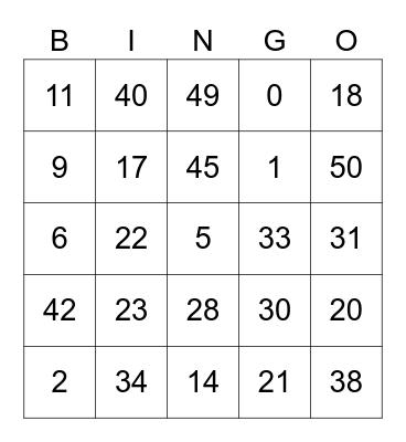 Maths Bingo Card