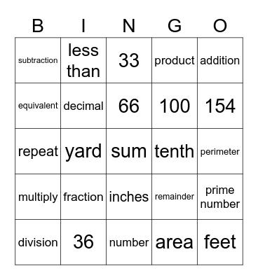 Maths Vocabulary Bingo Card